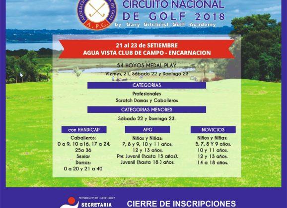Circuito Nacional de Golf 2018 – 4ta Profesionales, 7ma Mayores y 9na Menores